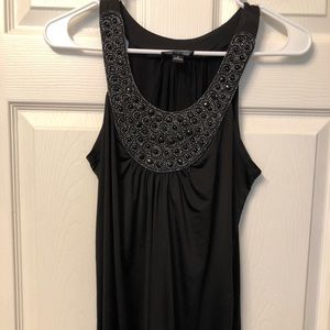 Black tank with beading in excellent condition